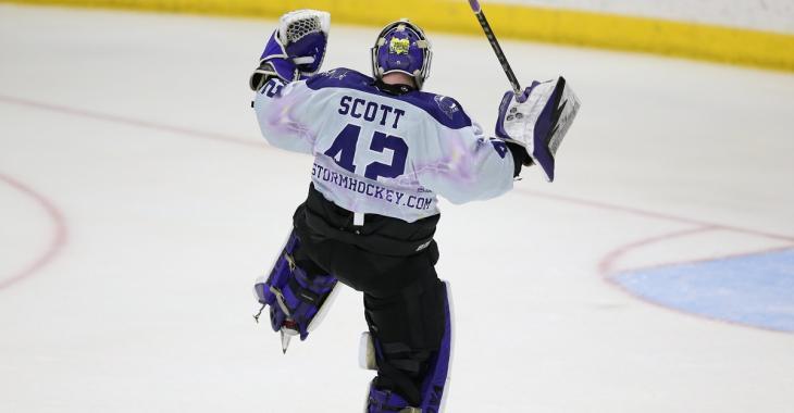 Goaltender Todd Scott scores an ultra rare goalie-goal.