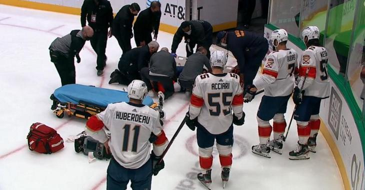 Aaron Ekblad carried out on a stretcher after suffering a horrific looking injury.