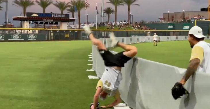 Nate Schmidt makes an unbelievable circus catch over the fence.