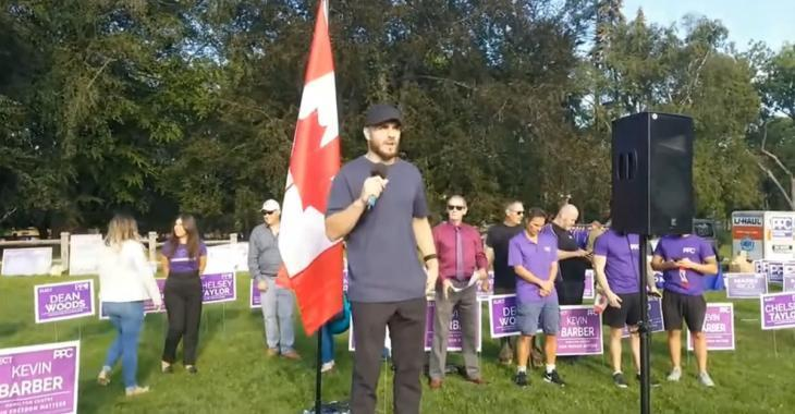 Zac Rinaldo takes a strong stance on vaccine mandates during political rally.